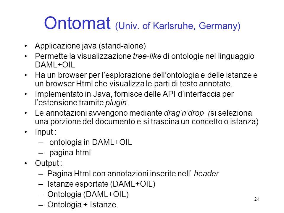 24 Ontomat (Univ. of Karlsruhe, Germany) Applicazione java (stand-alone) Permette la visualizzazione tree-like di ontologie nel linguaggio DAML+OIL Ha