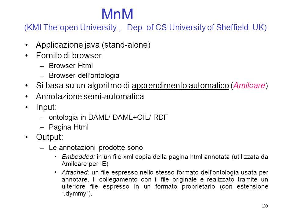26 MnM (KMI The open University, Dep. of CS University of Sheffield. UK) Applicazione java (stand-alone) Fornito di browser –Browser Html –Browser del