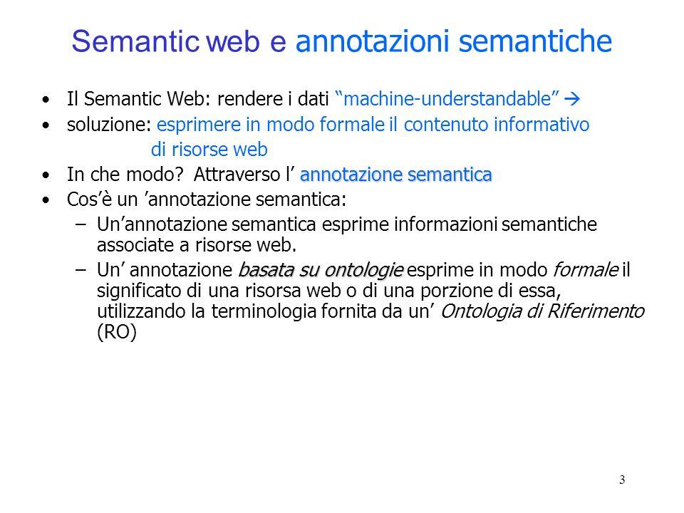 3 Semantic web e annotazioni semantiche Il Semantic Web: rendere i dati machine-understandable soluzione: esprimere in modo formale il contenuto infor