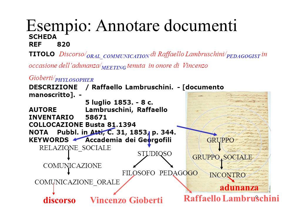 9 Esempio: Annotare documenti SCHEDA REF820 TITOLO Discorso/ ORAL_COMMUNICATION di Raffaello Lambruschini/ PEDAGOGIST in occasione delladunanza/ MEETI