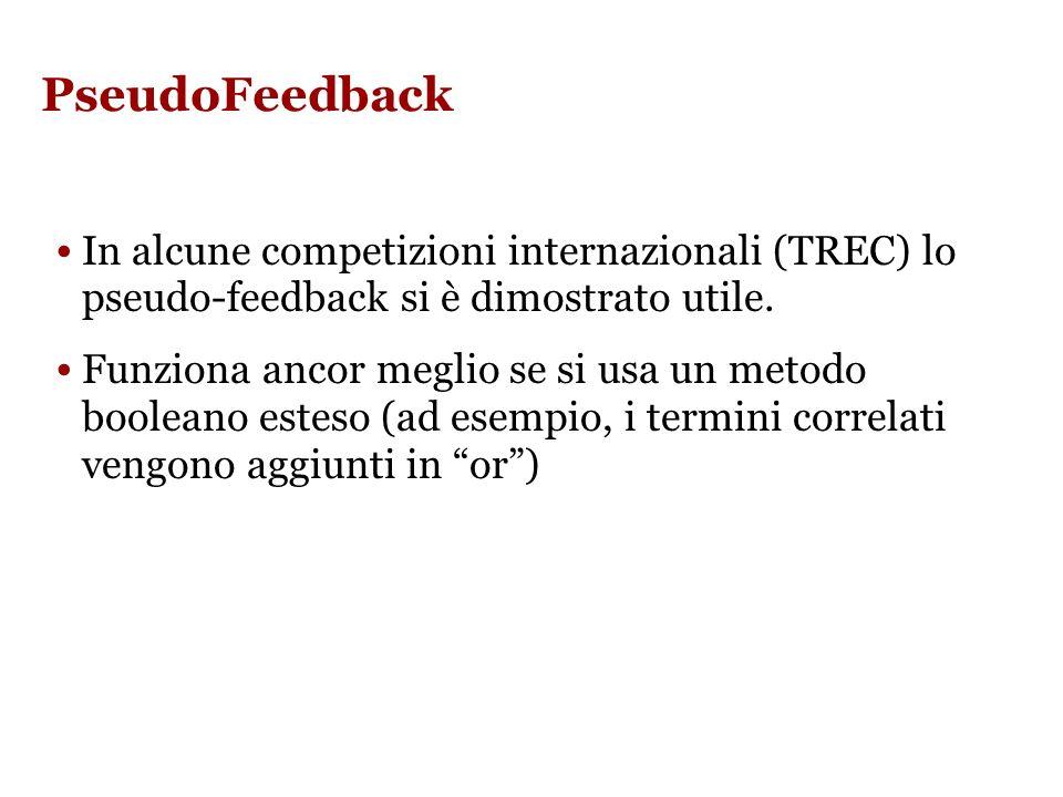 PseudoFeedback In alcune competizioni internazionali (TREC) lo pseudo-feedback si è dimostrato utile.