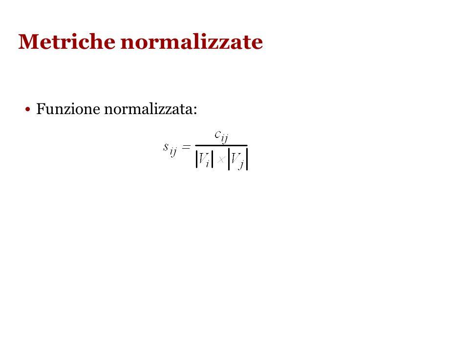 Metriche normalizzate Funzione normalizzata: