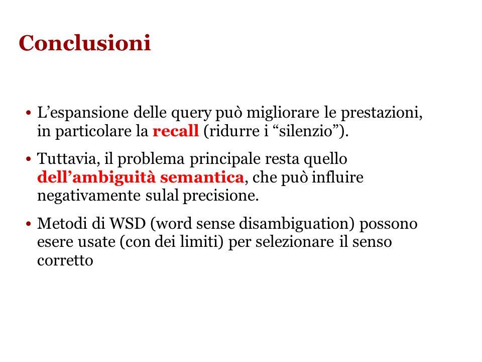 Conclusioni Lespansione delle query può migliorare le prestazioni, in particolare la recall (ridurre i silenzio).