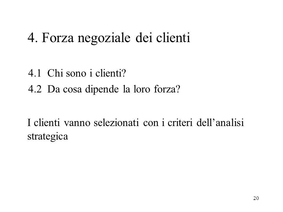 20 4. Forza negoziale dei clienti 4.1 Chi sono i clienti.