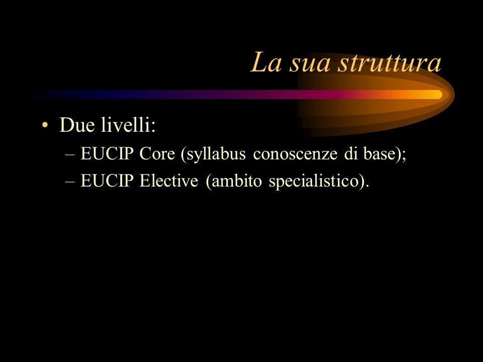 La sua struttura Due livelli: –EUCIP Core (syllabus conoscenze di base); –EUCIP Elective (ambito specialistico).
