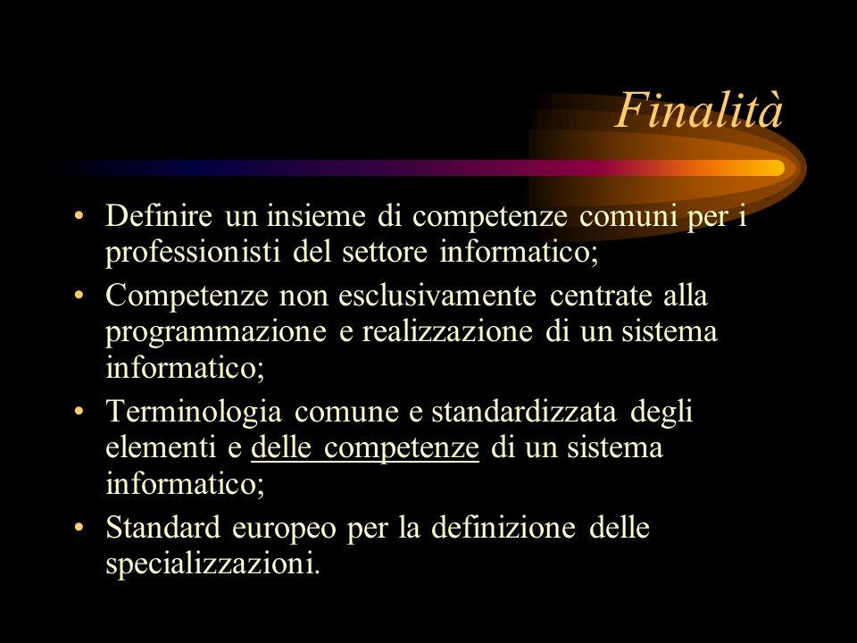 Finalità Definire un insieme di competenze comuni per i professionisti del settore informatico; Competenze non esclusivamente centrate alla programmaz