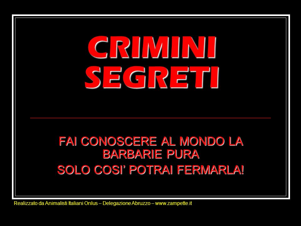 CRIMINI SEGRETI FAI CONOSCERE AL MONDO LA BARBARIE PURA SOLO COSI POTRAI FERMARLA! Realizzato da Animalisti Italiani Onlus – Delegazione Abruzzo – www