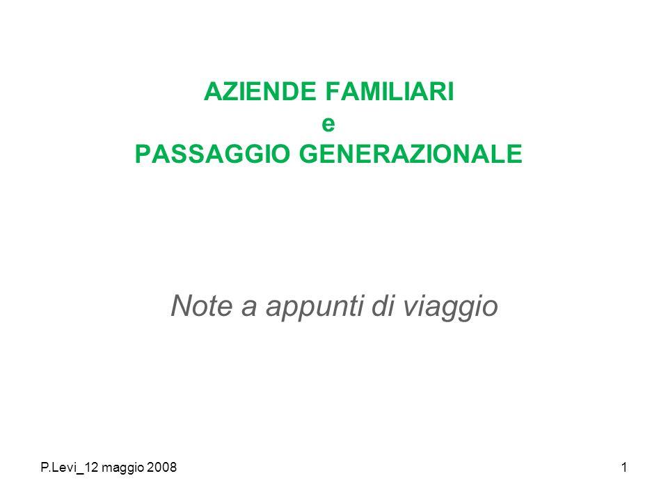 P.Levi_12 maggio 20081 AZIENDE FAMILIARI e PASSAGGIO GENERAZIONALE Note a appunti di viaggio