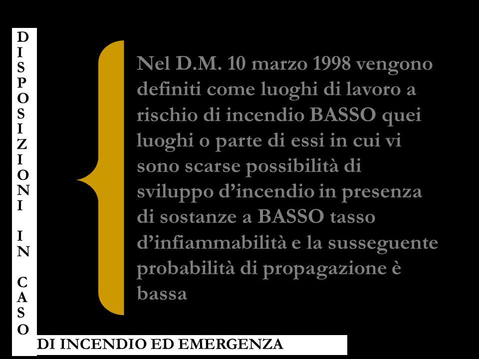Nel D.M. 10 marzo 1998 vengono definiti come luoghi di lavoro a rischio di incendio BASSO quei luoghi o parte di essi in cui vi sono scarse possibilit