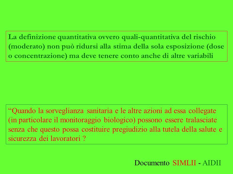 La definizione quantitativa ovvero quali-quantitativa del rischio (moderato) non può ridursi alla stima della sola esposizione (dose o concentrazione)