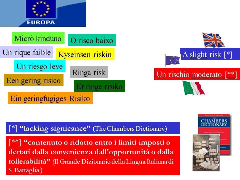 Nelle traduzioni della Direttiva 98/24CE degli altri Paesi UE il nostro moderato è stato univocamente definitivo come rischio BASSO o IRRILEVANTE