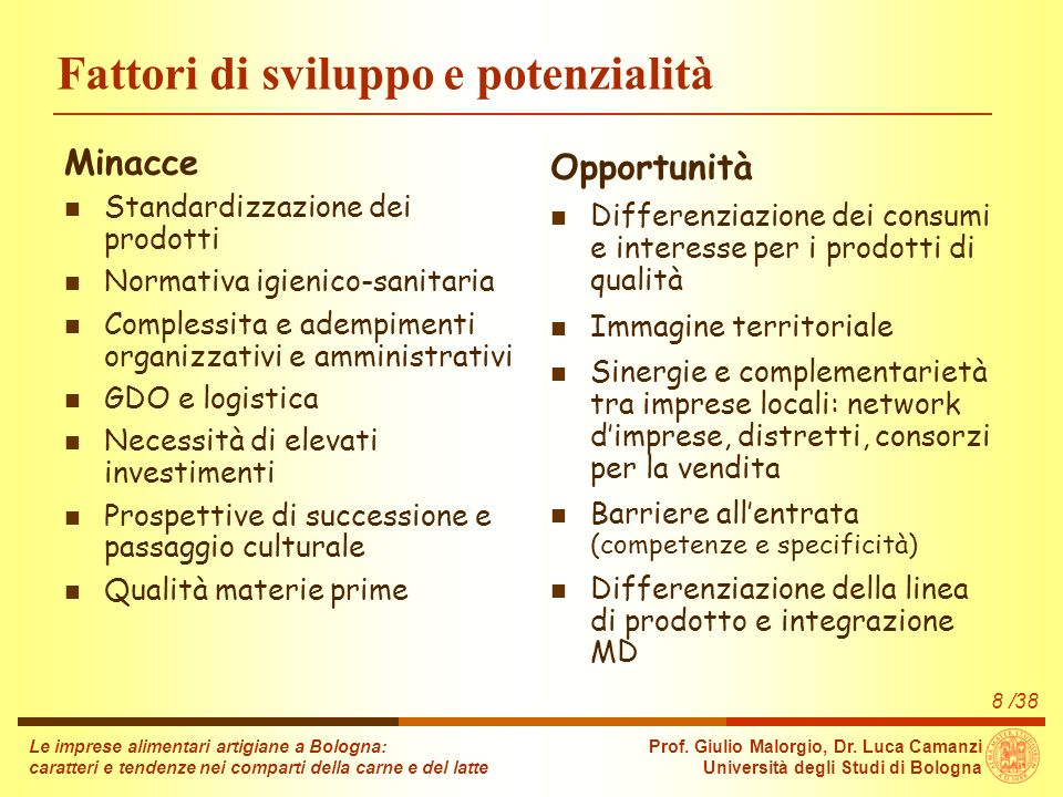 Le imprese alimentari artigiane a Bologna: caratteri e tendenze nei comparti della carne e del latte Prof.