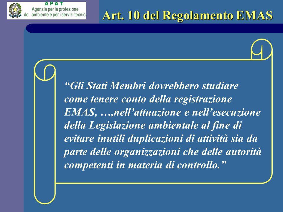 Art. 10 del Regolamento EMAS Gli Stati Membri dovrebbero studiare come tenere conto della registrazione EMAS, …,nellattuazione e nellesecuzione della
