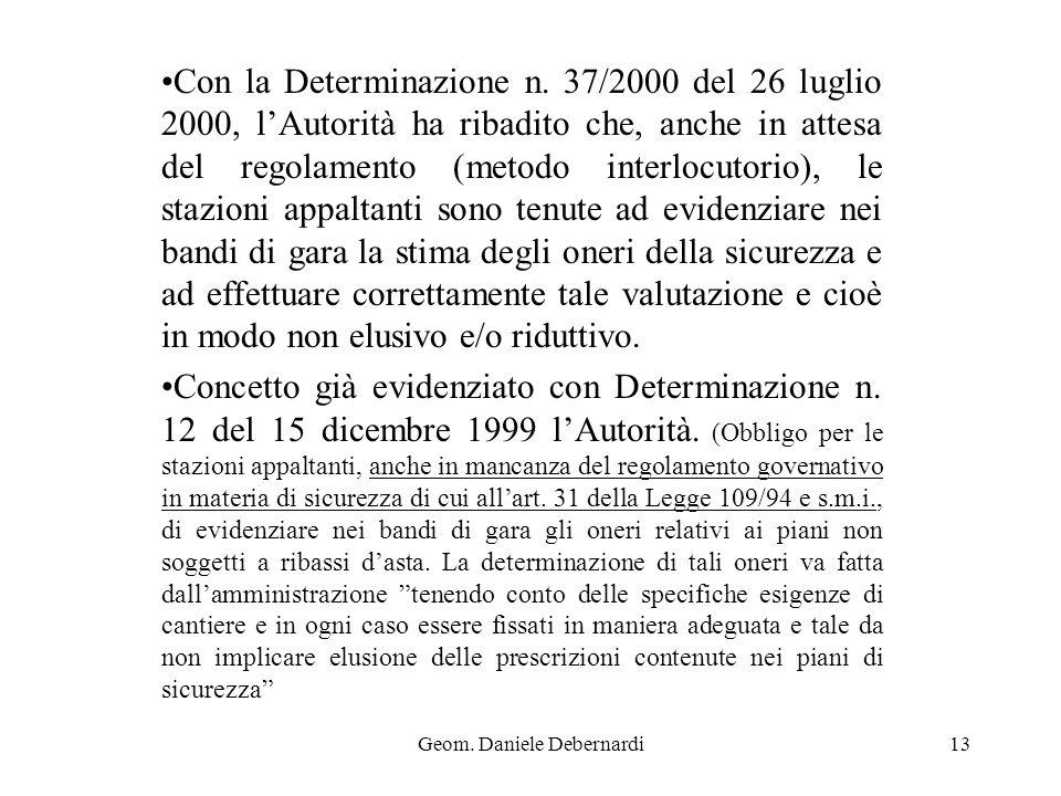 Geom. Daniele Debernardi13 Con la Determinazione n. 37/2000 del 26 luglio 2000, lAutorità ha ribadito che, anche in attesa del regolamento (metodo int