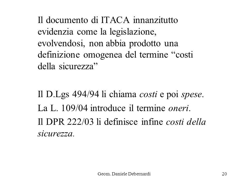 Geom. Daniele Debernardi20 Il documento di ITACA innanzitutto evidenzia come la legislazione, evolvendosi, non abbia prodotto una definizione omogenea