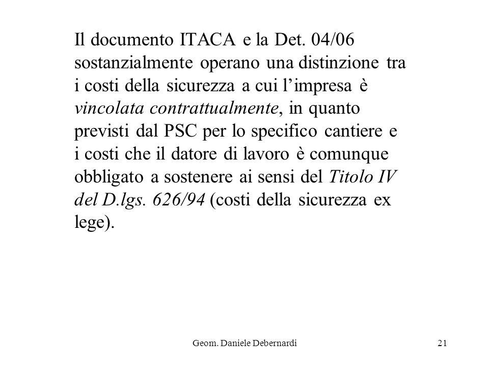 Geom. Daniele Debernardi21 Il documento ITACA e la Det. 04/06 sostanzialmente operano una distinzione tra i costi della sicurezza a cui limpresa è vin