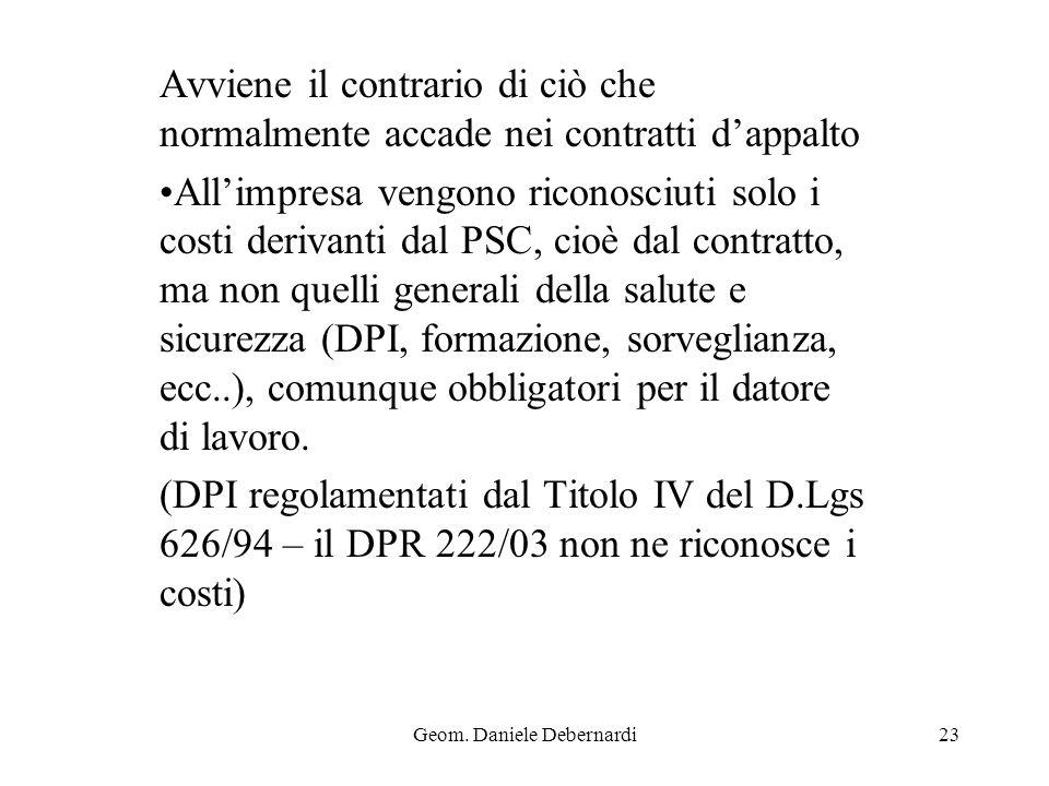 Geom. Daniele Debernardi23 Avviene il contrario di ciò che normalmente accade nei contratti dappalto Allimpresa vengono riconosciuti solo i costi deri