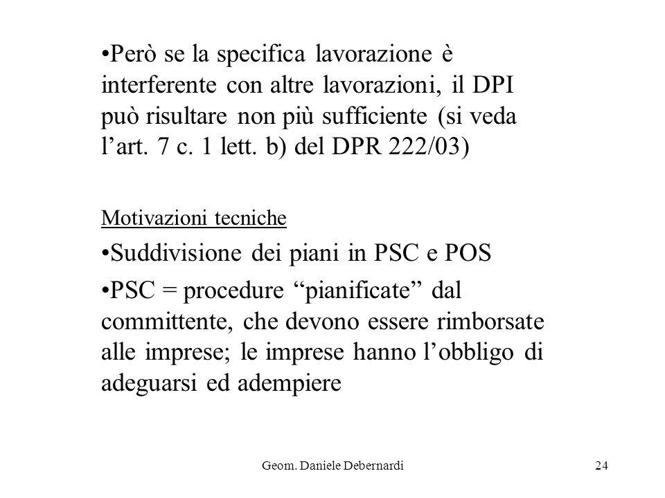Geom. Daniele Debernardi24 Però se la specifica lavorazione è interferente con altre lavorazioni, il DPI può risultare non più sufficiente (si veda la