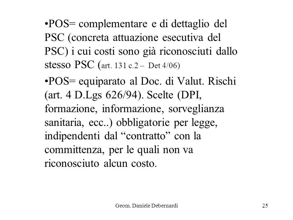 Geom. Daniele Debernardi25 POS= complementare e di dettaglio del PSC (concreta attuazione esecutiva del PSC) i cui costi sono già riconosciuti dallo s