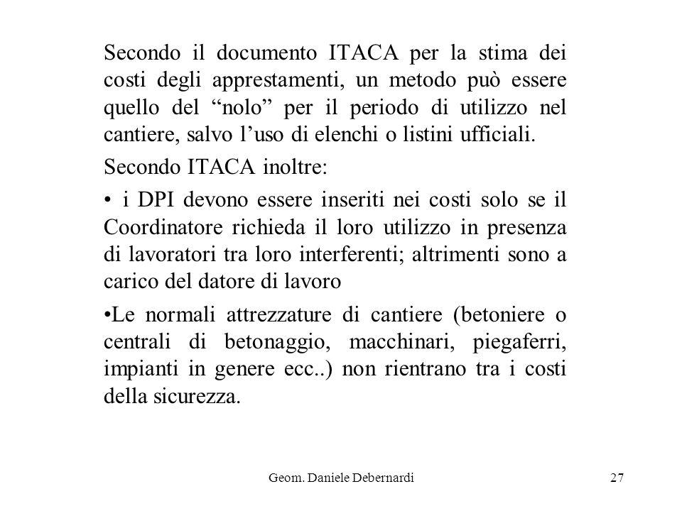 Geom. Daniele Debernardi27 Secondo il documento ITACA per la stima dei costi degli apprestamenti, un metodo può essere quello del nolo per il periodo