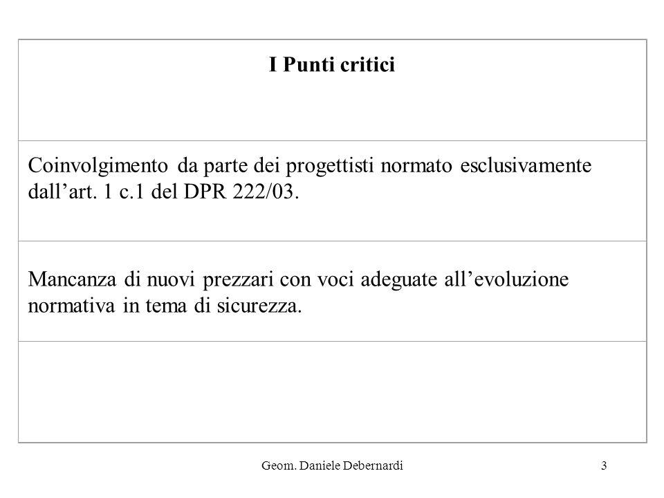Geom. Daniele Debernardi3 I Punti critici Coinvolgimento da parte dei progettisti normato esclusivamente dallart. 1 c.1 del DPR 222/03. Mancanza di nu