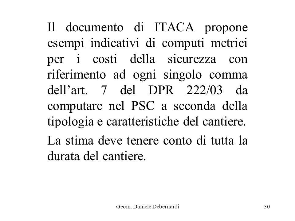 Geom. Daniele Debernardi30 Il documento di ITACA propone esempi indicativi di computi metrici per i costi della sicurezza con riferimento ad ogni sing