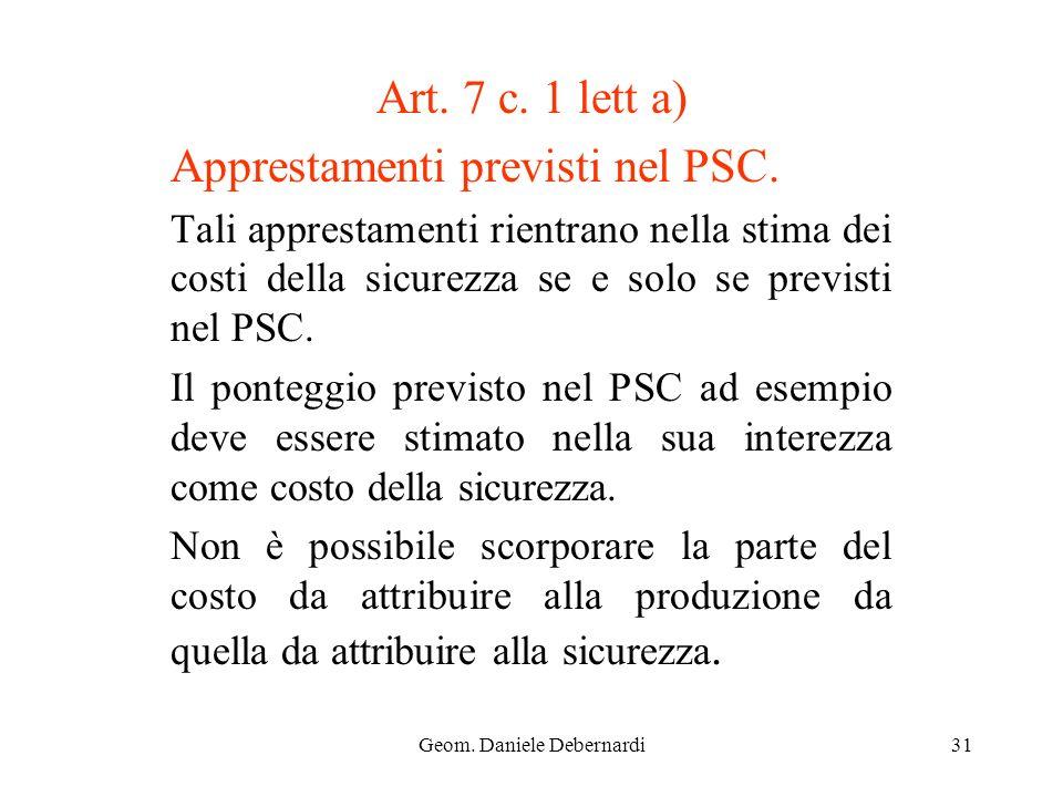Geom. Daniele Debernardi31 Art. 7 c. 1 lett a) Apprestamenti previsti nel PSC. Tali apprestamenti rientrano nella stima dei costi della sicurezza se e