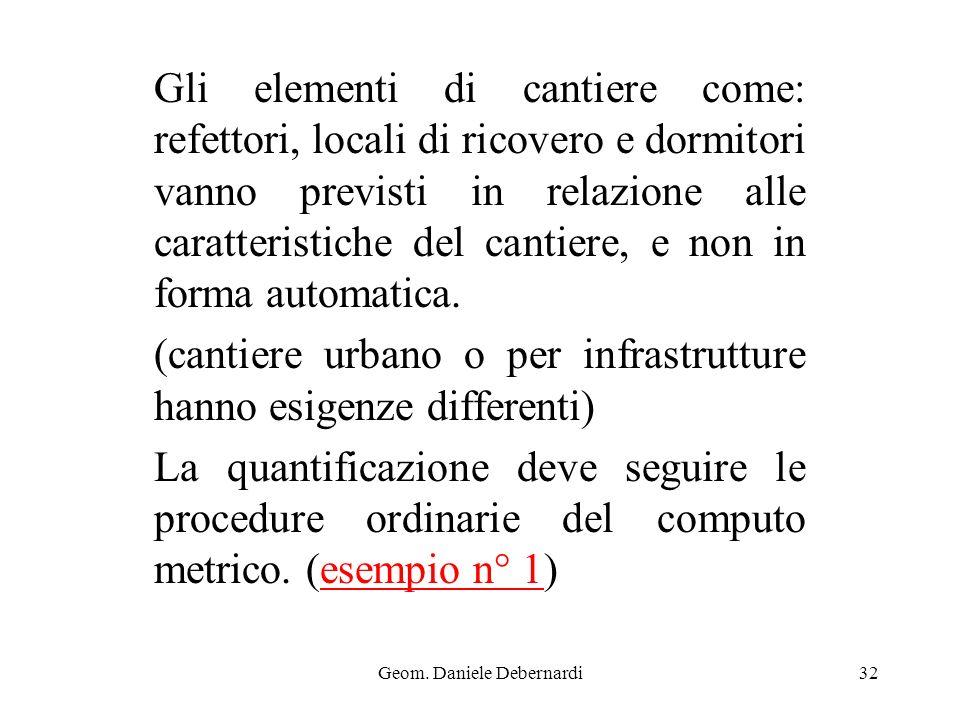 Geom. Daniele Debernardi32 Gli elementi di cantiere come: refettori, locali di ricovero e dormitori vanno previsti in relazione alle caratteristiche d