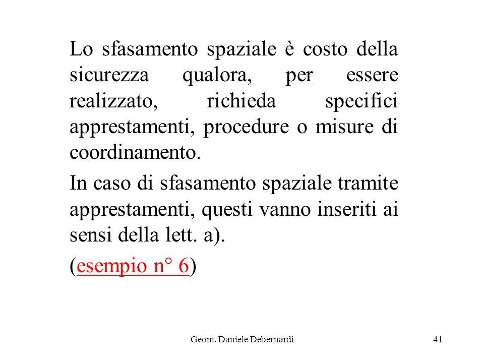 Geom. Daniele Debernardi41 Lo sfasamento spaziale è costo della sicurezza qualora, per essere realizzato, richieda specifici apprestamenti, procedure