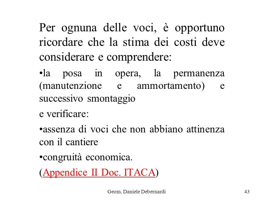 Geom. Daniele Debernardi43 Per ognuna delle voci, è opportuno ricordare che la stima dei costi deve considerare e comprendere: la posa in opera, la pe