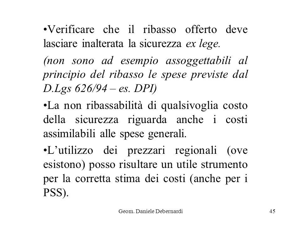 Geom. Daniele Debernardi45 Verificare che il ribasso offerto deve lasciare inalterata la sicurezza ex lege. (non sono ad esempio assoggettabili al pri