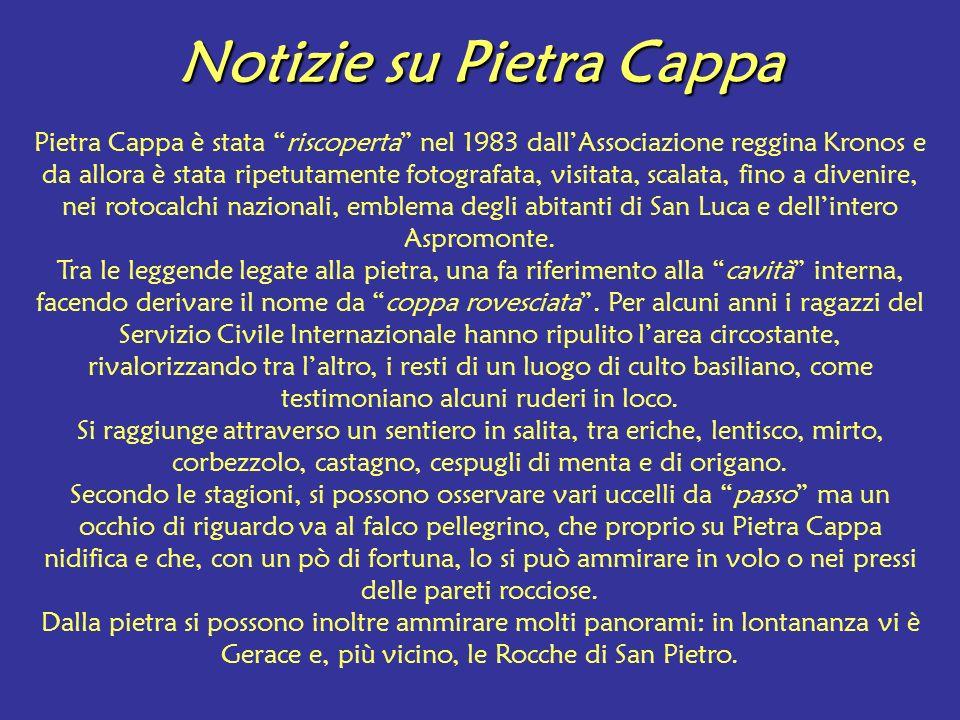Notizie su Pietra Cappa Pietra Cappa è stata riscoperta nel 1983 dallAssociazione reggina Kronos e da allora è stata ripetutamente fotografata, visita