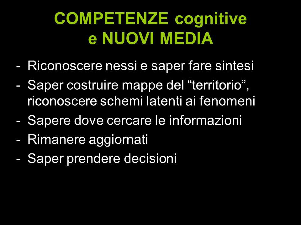 COMPETENZE cognitive e NUOVI MEDIA -Riconoscere nessi e saper fare sintesi -Saper costruire mappe del territorio, riconoscere schemi latenti ai fenome
