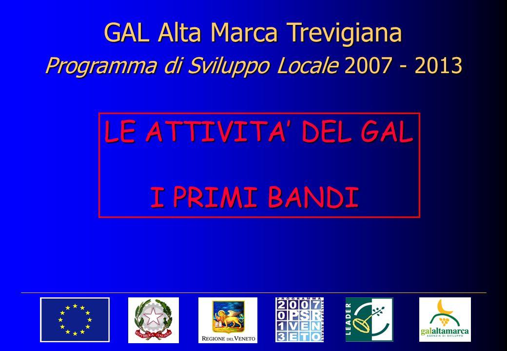 GAL Alta Marca Trevigiana Programma di Sviluppo Locale 2007 - 2013 LE ATTIVITA DEL GAL I PRIMI BANDI