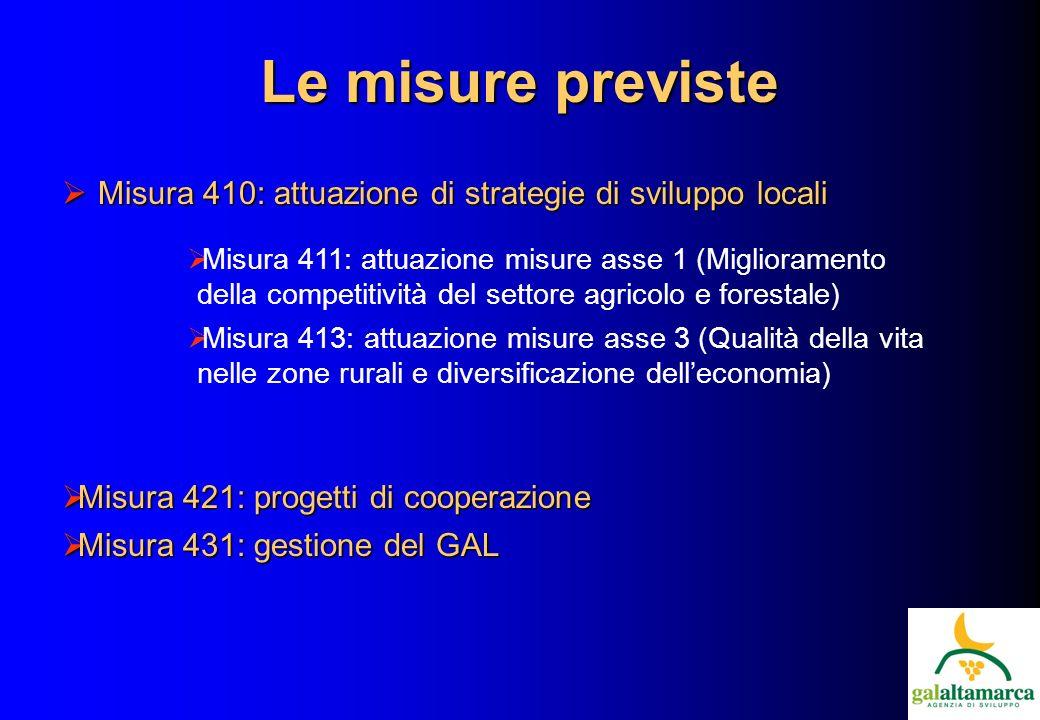 Le misure previste Misura 410: attuazione di strategie di sviluppo locali Misura 410: attuazione di strategie di sviluppo locali Misura 411: attuazione misure asse 1 (Miglioramento della competitività del settore agricolo e forestale) Misura 413: attuazione misure asse 3 (Qualità della vita nelle zone rurali e diversificazione delleconomia) Misura 421: progetti di cooperazione Misura 421: progetti di cooperazione Misura 431: gestione del GAL Misura 431: gestione del GAL