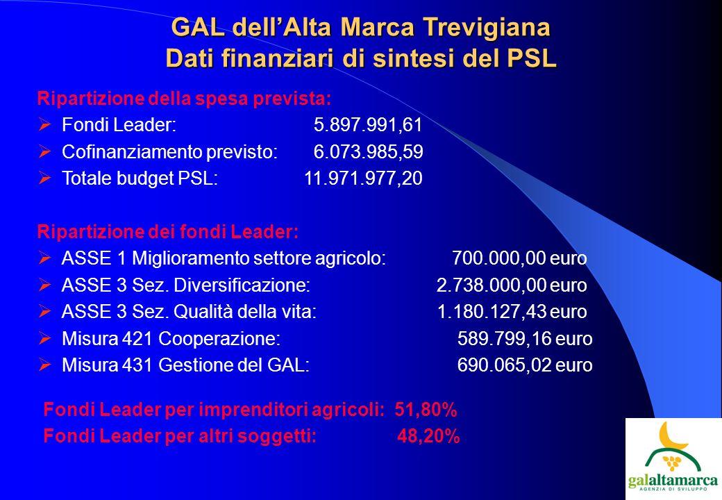 GAL dellAlta Marca Trevigiana Dati finanziari di sintesi del PSL Ripartizione della spesa prevista: Fondi Leader: 5.897.991,61 Cofinanziamento previsto: 6.073.985,59 Totale budget PSL: 11.971.977,20 Ripartizione dei fondi Leader: ASSE 1 Miglioramento settore agricolo: 700.000,00 euro ASSE 3 Sez.