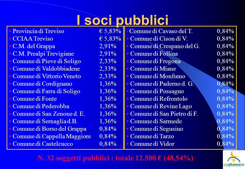 I soci pubblici Provincia di Treviso 5,83% CCIAA Treviso 5,83% C.M.