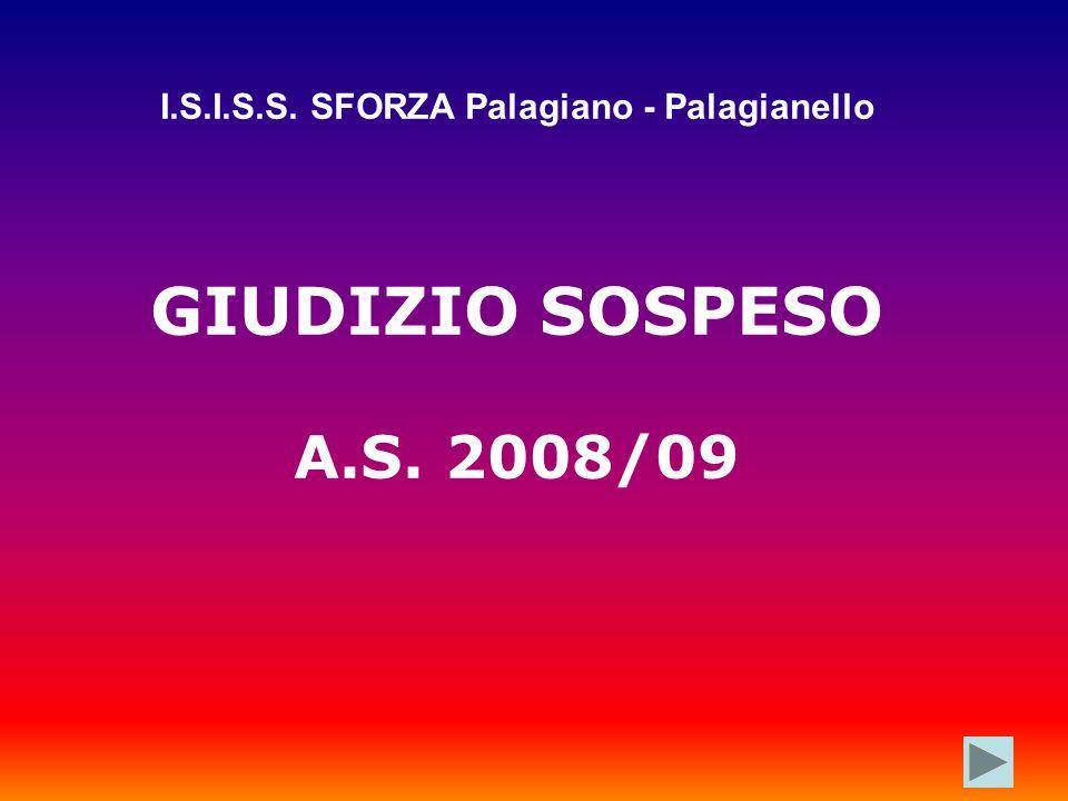 I.S.I.S.S. SFORZA Palagiano - Palagianello GIUDIZIO SOSPESO A.S. 2008/09