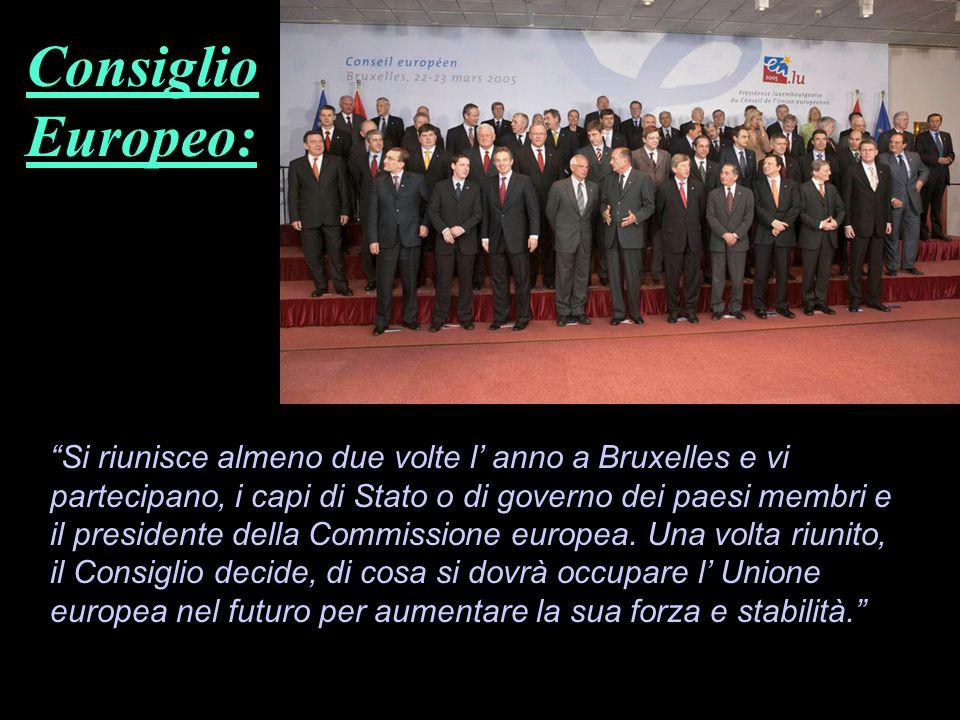 Si riunisce almeno due volte l anno a Bruxelles e vi partecipano, i capi di Stato o di governo dei paesi membri e il presidente della Commissione euro