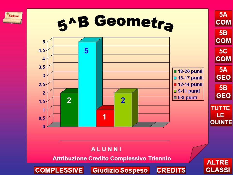 2 5 1 2 Attribuzione Credito Complessivo Triennio A L U N N I ALTRE CLASSI TUTTE LE QUINTE CREDITS 5A COM 5B COM 5C COM 5A GEO 5B GEO COMPLESSIVEGiudizio Sospeso