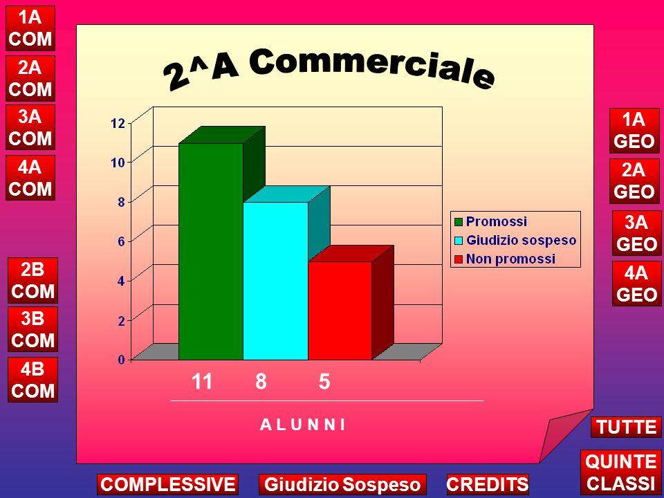 1 5 3 2 Attribuzione Credito Complessivo Triennio A L U N N I ALTRE CLASSI TUTTE LE QUINTE CREDITS 5A COM 5B COM 5C COM 5A GEO 5B GEO 1 COMPLESSIVEGiudizio Sospeso