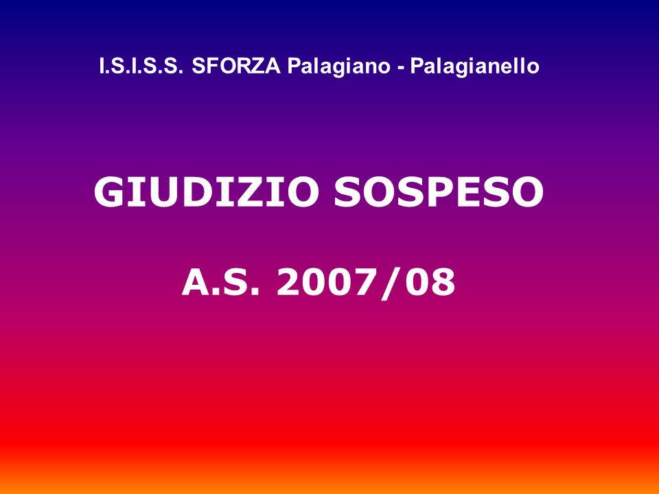 I.S.I.S.S. SFORZA Palagiano - Palagianello GIUDIZIO SOSPESO A.S. 2007/08