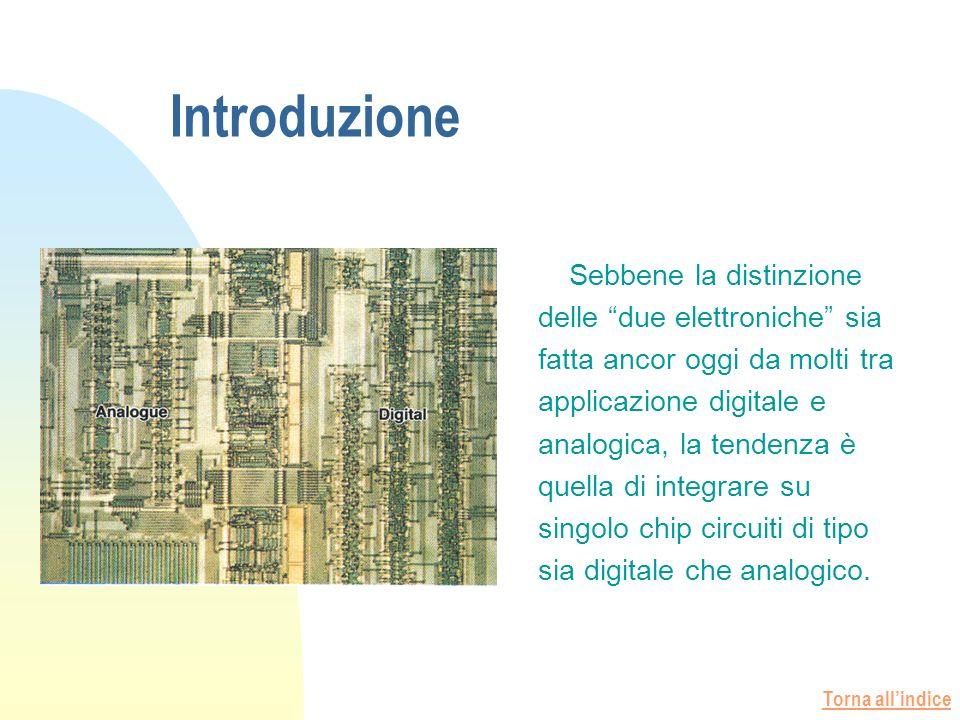 Torna allindice Introduzione Sebbene la distinzione delle due elettroniche sia fatta ancor oggi da molti tra applicazione digitale e analogica, la tendenza è quella di integrare su singolo chip circuiti di tipo sia digitale che analogico.