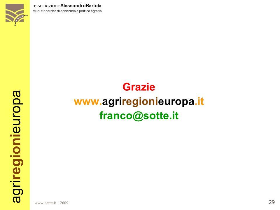 agriregionieuropa associazioneAlessandroBartola studi e ricerche di economia e politica agraria www.sotte.it - 2009 28 Considerazioni conclusive 2 LHe