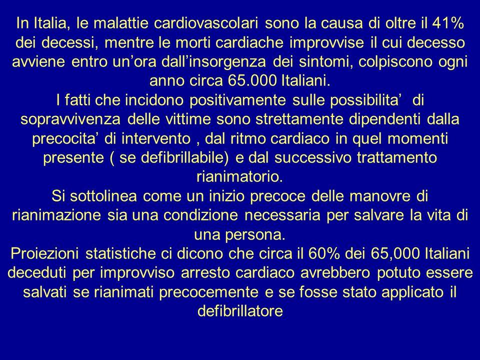 In Italia, le malattie cardiovascolari sono la causa di oltre il 41% dei decessi, mentre le morti cardiache improvvise il cui decesso avviene entro un