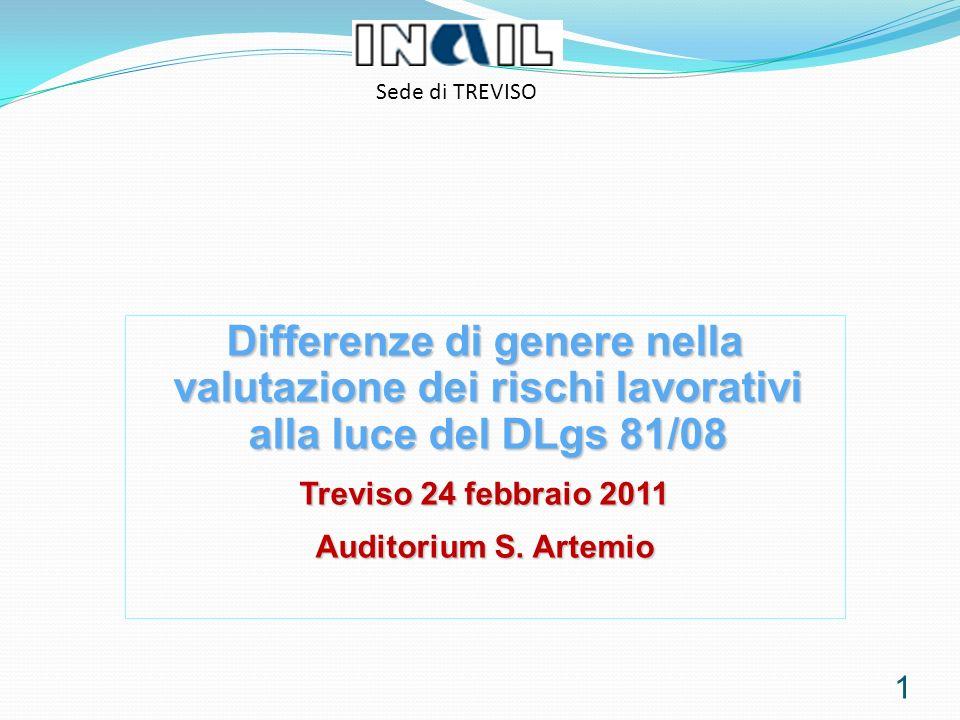 1 Sede di TREVISO Differenze di genere nella valutazione dei rischi lavorativi alla luce del DLgs 81/08 Treviso 24 febbraio 2011 Auditorium S.