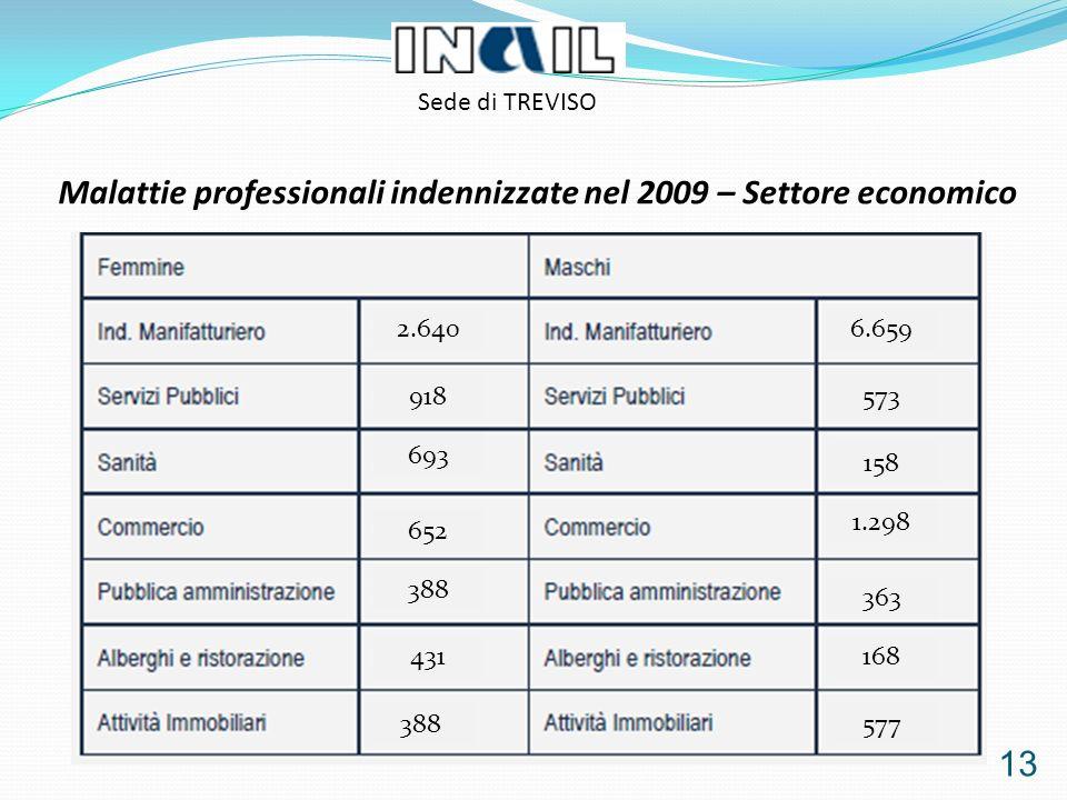 13 Malattie professionali indennizzate nel 2009 – Settore economico Sede di TREVISO 168 363 1.298 158 573 6.6592.640 918 693 652 388 431 388577