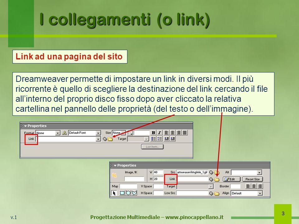 v.1 Progettazione Multimediale – www.pinocappellano.it 3 I collegamenti (o link) Dreamweaver permette di impostare un link in diversi modi.