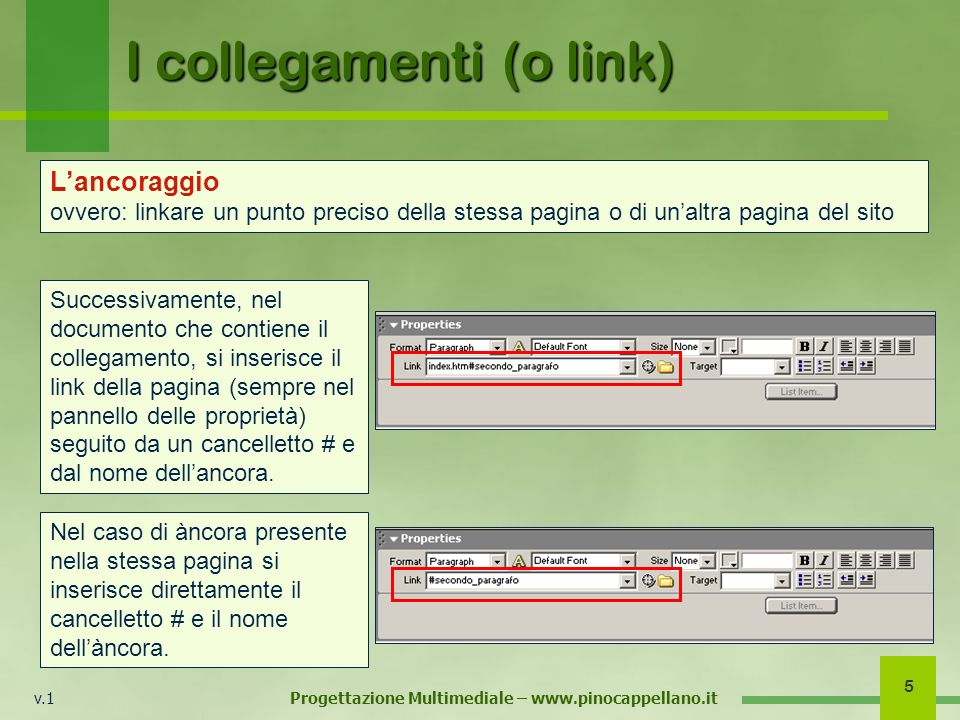 v.1 Progettazione Multimediale – www.pinocappellano.it 5 I collegamenti (o link) Successivamente, nel documento che contiene il collegamento, si inserisce il link della pagina (sempre nel pannello delle proprietà) seguito da un cancelletto # e dal nome dellancora.