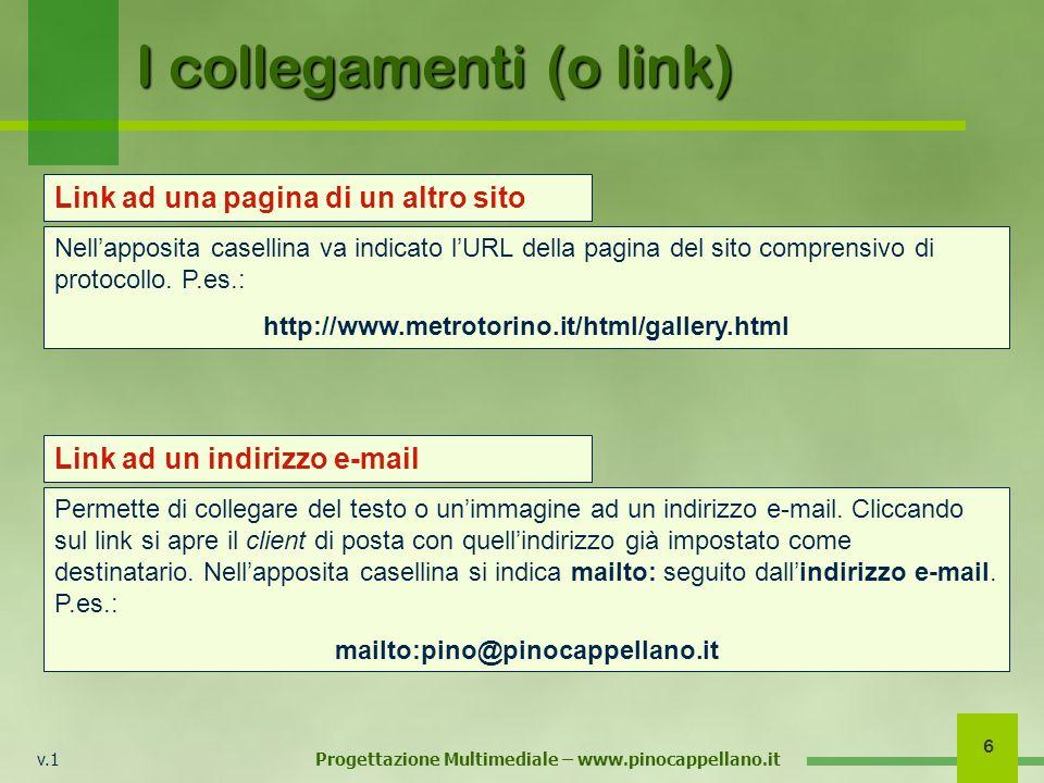 v.1 Progettazione Multimediale – www.pinocappellano.it 6 I collegamenti (o link) Nellapposita casellina va indicato lURL della pagina del sito comprensivo di protocollo.